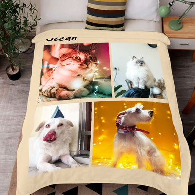 Custom Pet Photo Collage Editable Color Fleece Blanket with 4 Pet Photos - The Pet Pillow