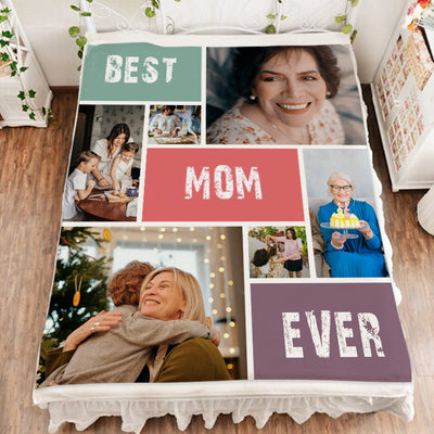 Best Mom Ever - Custom Photo Collage Blanket for Pet Mom - The Pet Pillow