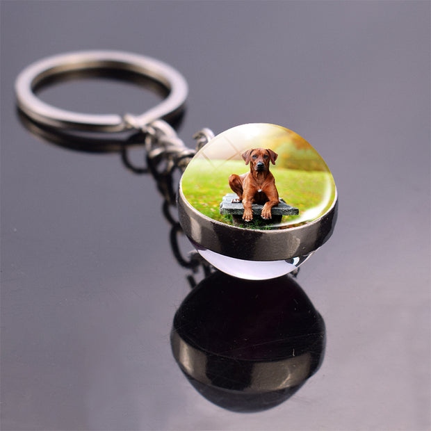 Custom Cute Pet Key Ring Double Sided Glass Ball Keychain, Personalized Gift For Mom - The Pet Pillow
