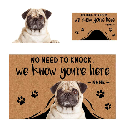 """No Need to Knock"" Custom Pet Doormat from your dog cat pets photo - The Pet Pillow"