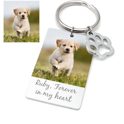 Custom Dog Photo Memorial Keychain with Paw - The Pet Pillow