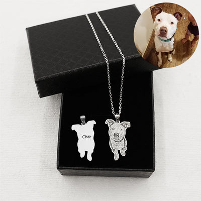 Personalized Engraved Photo and Name Dog Sliver Necklace - The Pet Pillow