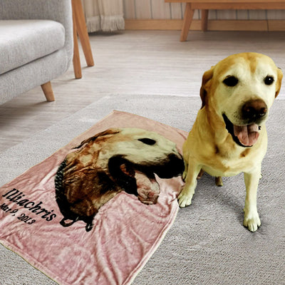 Custom Pet Face Print Fleece Blanket - The Pet Pillow