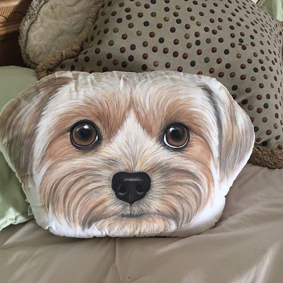 Custom Pet Sketch Portrait Face Head Shaped Pillow, 100% Hand Drawing from Your Pet Picture - The Pet Pillow