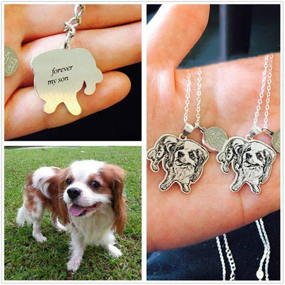 Pet memorial photo necklace  / keychain / Bracelet animal shape pendant - The Pet Pillow