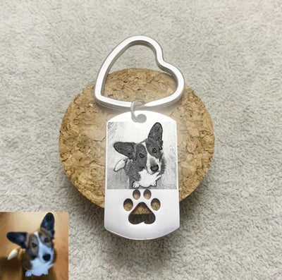 Custom Your Pet Photo Stainless Steel Keychain with Engraved Name/Date - The Pet Pillow