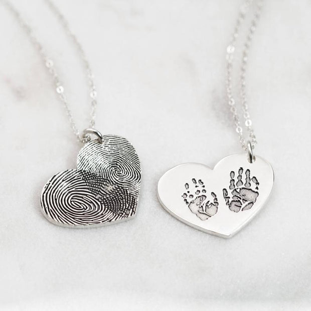 Custom Fingerprint Lettering Heart 925 Sterling Silver Necklace - The Pet Pillow