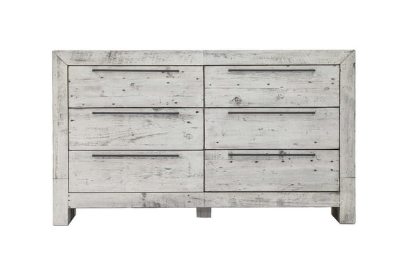 MALIBU 6 DRAWER DRESSER - RUSTIC WHITE