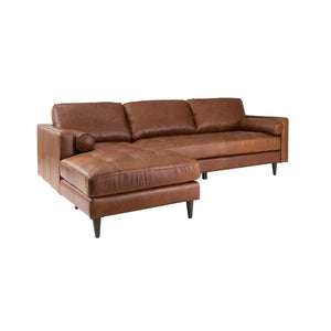 PLUSH GEORGIA LEATHER LEFT SECTIONAL SOFA