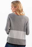 PLUSHY KNIT SWEATER WITH STRIPE DETAIL