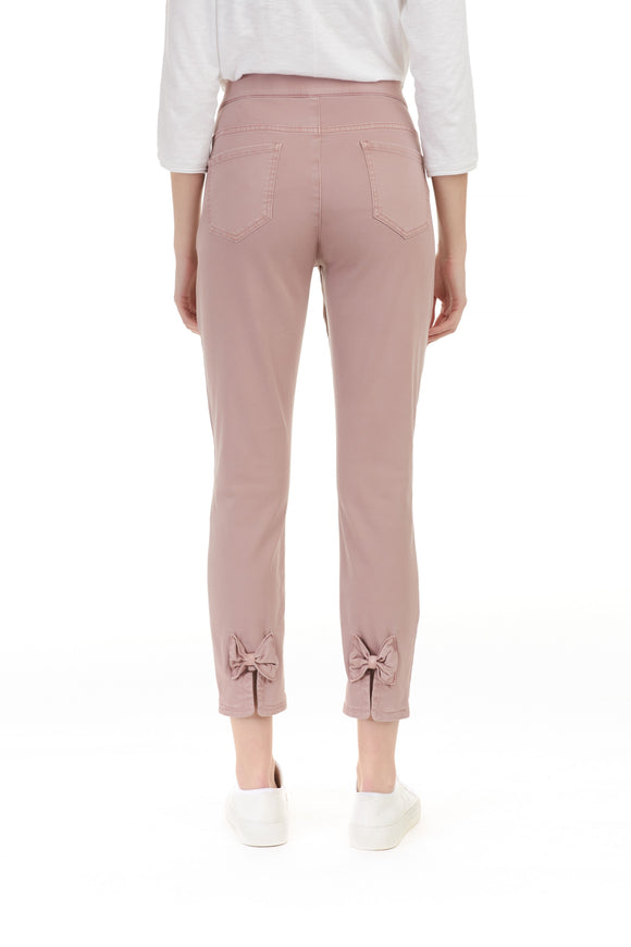 COLOURED TWILL PANTS WITH BOW