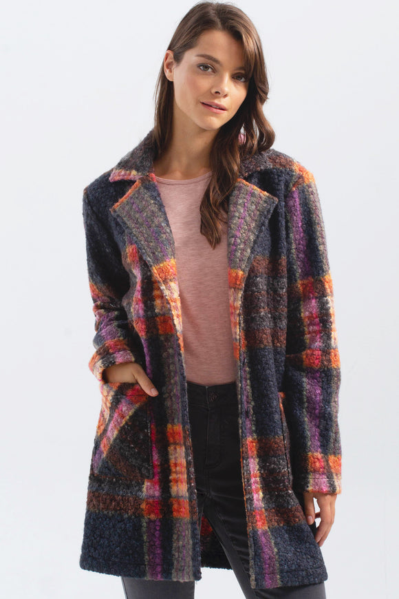 BOUCLE KNIT PLAID COAT