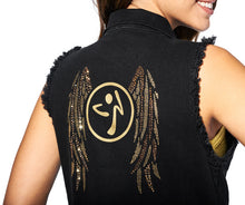 Load image into Gallery viewer, Zumba® Denim Vest with Swarovski Crystals