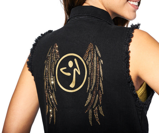 Zumba® Denim Vest with Swarovski Crystals