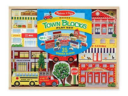 Melissa and Doug - Wooden Town Blocks Play Set - 35 Wooden Blocks