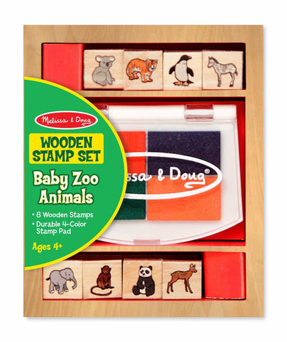 Melissa and Doug - Wooden Stamp Set - Baby Zoo Animals
