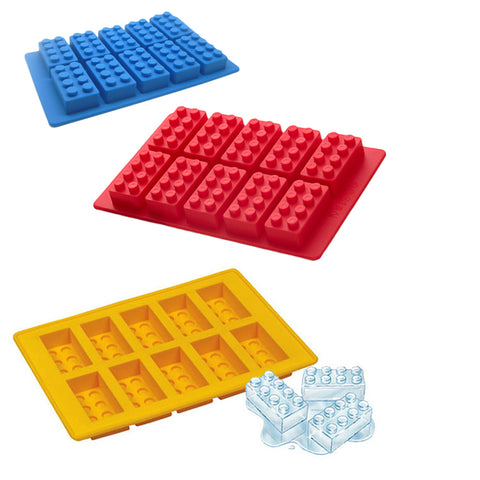 Lego - Silicone Brick Ice Cube / Baking Mould Tray - 3 Pack