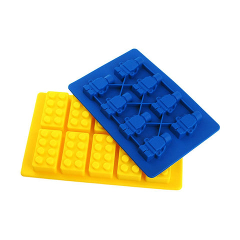 Lego - Silicone Minifigure Robot Man & Brick Ice Cube / Baking Mould Tray