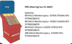 Halls Floor Display Pre Pack 240ct, Mints, Mondelez (Cadbury), [variant_title] - Tevan Enterprises