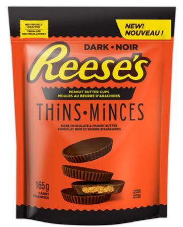 Reese Thins (Dark) Peg Top 165g 12 bags per box, Chocolate and Chocolate Bars, Hershey's, [variant_title] - Tevan Enterprises