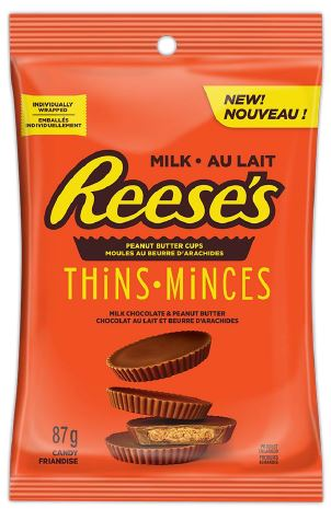 Reese Thins (Milk) Peg Top 87g 16 bags per box, Chocolate and Chocolate Bars, Hershey's, [variant_title] - Tevan Enterprises