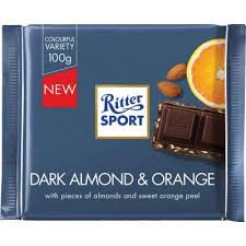 Ritter Sport Dark Almond Orange 100g 12s - Chocolate and Chocolate Bars - Terra Foods - Tevan Enterprises Confectionary