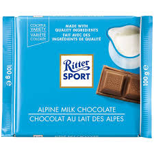 Ritter Sport Alpine Milk Chocolate 100g, 12's
