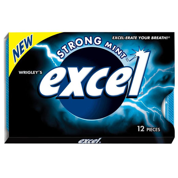 Excel Strong Mint x 12's - Gum - Wrigley - Tevan Enterprises Confectionary