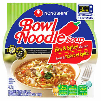 Nong Shim Hot & Spicy Soup Bowl 86g 12s - Snacks - Tevan Enterprises, Ltd. - Tevan Enterprises Confectionary