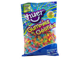 Huer Neon Worms bulk candy 1kg,