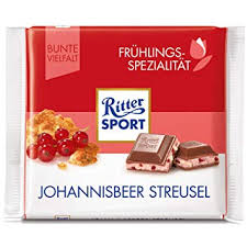 Ritter Sport Red Current Crumble 100g 12's - Chocolate and Chocolate Bars - Terra Foods - Tevan Enterprises Confectionary