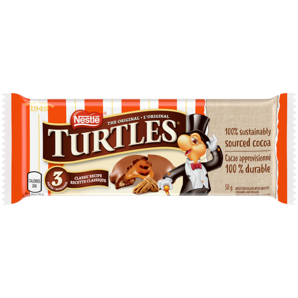 Turtles 3 Piece 50g 24's - Chocolate and Chocolate Bars - Nestle - Tevan Enterprises Confectionary