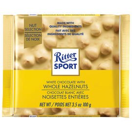 Ritter Sport White Whole Hazelnut 100g 10's