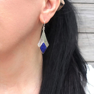 Large Lapis Lazuli & Sterling Silver Dangle Earrings