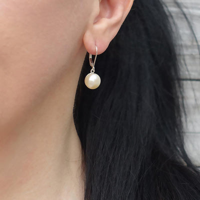 Sterling Silver and Pearl Leverback Earrings