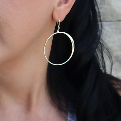 Handmade Silver Large Dangle Hoop Earrings