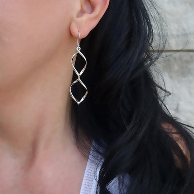 Spiral Twist Earrings in Sterling Silver