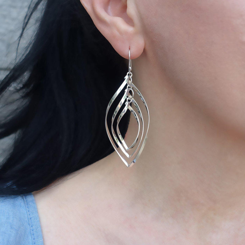 twisted sterling silver drop earrings