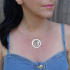 Large Sterling Silver Sun and Moon Pendant Necklace