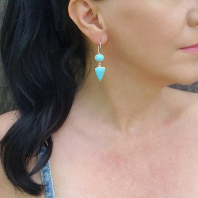 Long Turquoise Sterling Silver Dangle Earrings