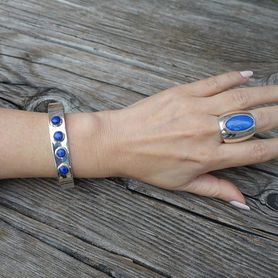 Sterling Silver and Lapis Lazuli Cuff Bracelet