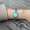 Natural Turquoise Cuff Bracelet in Sterling Silver