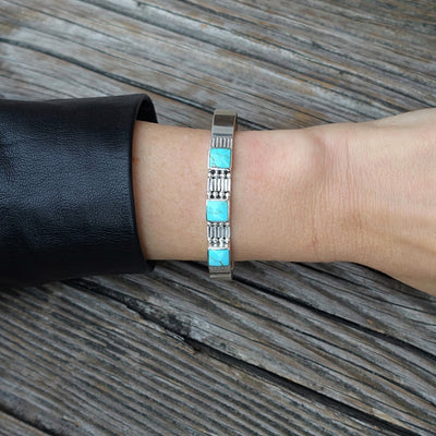 Square Turquoise Cuff Bracelet in Sterling Silver