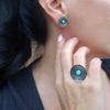 Oxidized Silver and Turquoise Stud Earrings