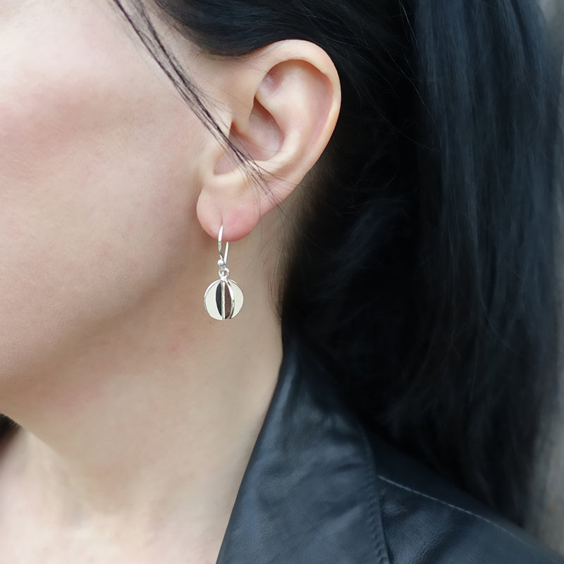 double disc drop earrings