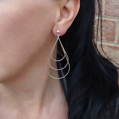 Sterling Silver Large Wire Drop Earrings