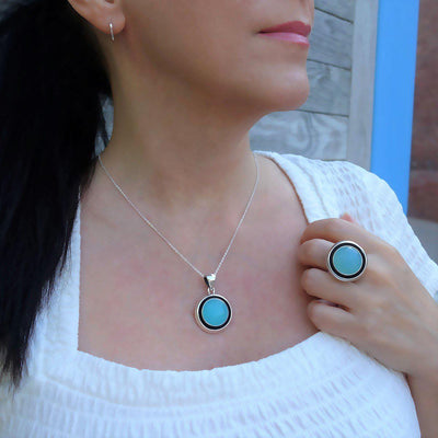 Sterling Silver Chalcedony Pendant Necklace