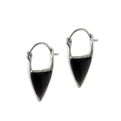Black Onyx Stone Hoop Earrings