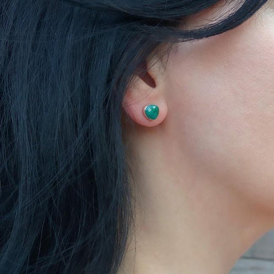 Chrysocolla and Sterling Silver Stud Earrings