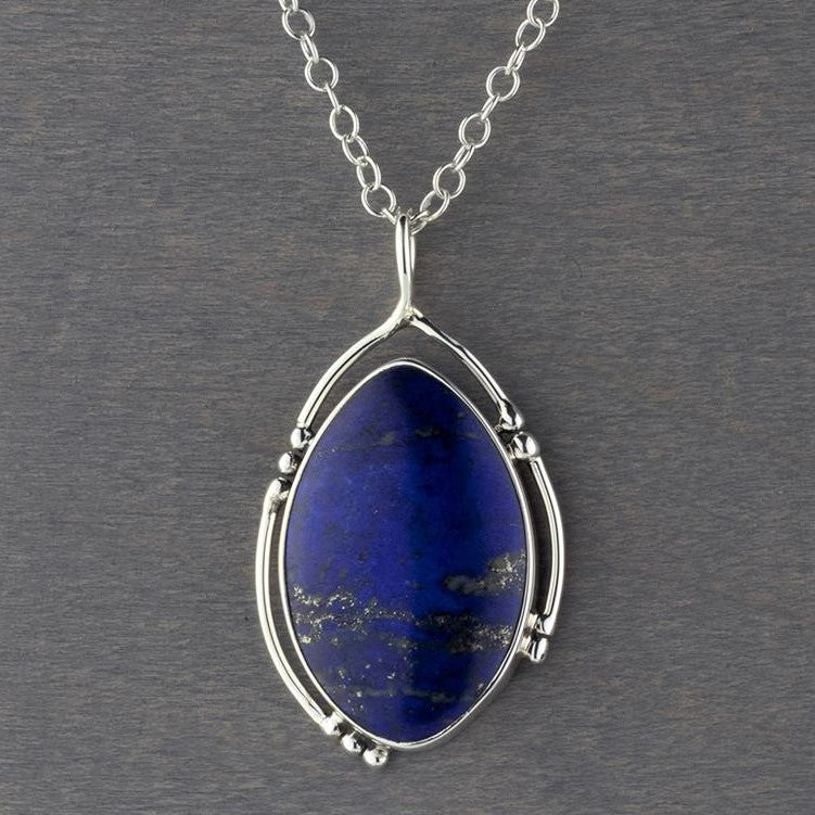 Handmade lapis lazuli sterling silver necklace